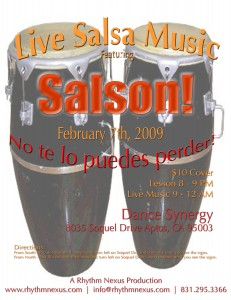 Salson is playing February 7 at Dance Synergy!